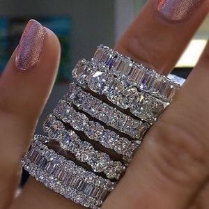 925 Silver Pave Setting Square CZ Diamond Ring 6